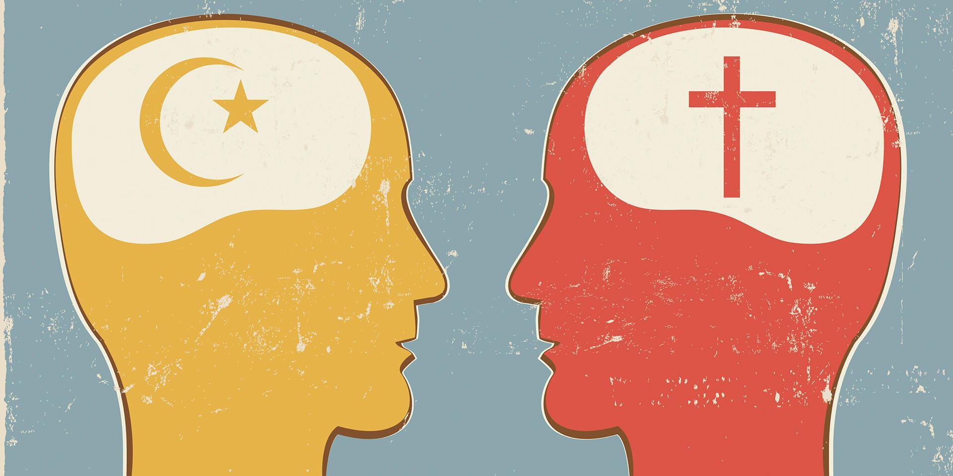 stilisierte Darstellung zwei Köpfe im Dialog